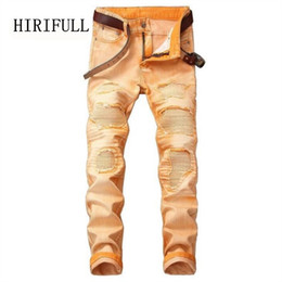 Hot Sale 2018 Spring Autumn New Jeans Men Street Ripped Jeans Fashion  Beggar patch Retro Denim Pants Red Gray Plus Size Trousers 622386aa7