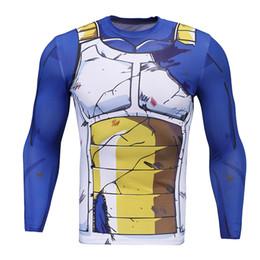 Heiße enge kleidung online-Kühle Marke Herrenbekleidung 3d Anime Dragon Ball T-Shirt Charakter Vegeta / Cell / Android 17 Goku / Son Gohan Langarm Tight Slim T-Shirt Hot