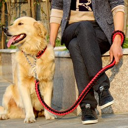 Wholesale Heavy Duty Dog - High Quality 120cm Strong Pet Dog Braided Nylon Durable Dog Leashes Dog Leads Heavy Duty Anti-slip Rope Stereotyped Rope Collar Set