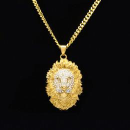 collana di fronte del leone dell'oro Sconti Ciondolo faccia strass leone in acciaio inox color oro freddo con collana a catena cubana 5mm gioielli hip hop miglior regalo