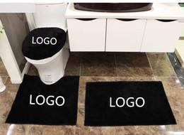 Wholesale Black Bathroom Toilets - European Style Customized Logo DIY Toilet Bath Mats Rugs 4 pcs Bathroom Set Black and White