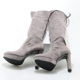 Wholesale Shoes Platform Long - LTTL Women Slim Thigh High Slip On Stretch Boots Manmade Suede Platform High Heel Sexy Over The Knee Long Boots Gray Women Shoes