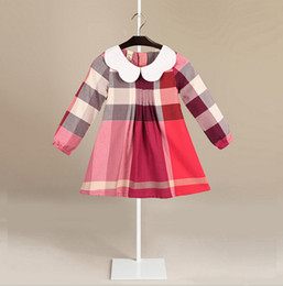 Wholesale Girl Autumn Fashion - HOT 2 colors 2018 NEW arrival spring Girls long Sleeve lapel dress high quality cotton baby kids Fashion coloured big plaid autumn skirt