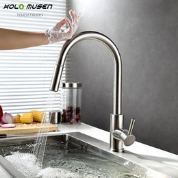 Wholesale Touch Free Sensor Tap - New Lead-Free SUS304 Stainless Steel Pull Out Touch Faucet Kitchen Sensitive Touch Control Faucet Mixer Sensor Kitchen Tap