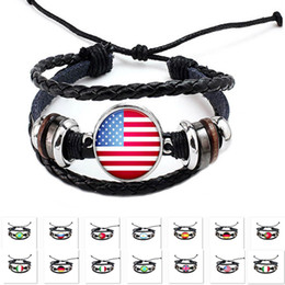 Wholesale football supplies - Party Supplies DIY Punk Leather Bracelet Women Men Charm National Flag Bracelet World Cup Football Sport Party Decoration Gifts WX9-501