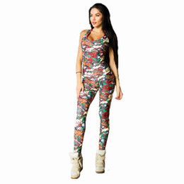 Wholesale sexy female sports pants - PENERAN Women Sexy Yoga Jumpsuits Sport Suit Kit Sleeveless Backless Female Gym Clothes Flower Print Running Fitness Workout Set