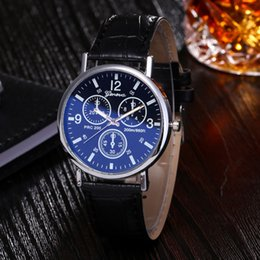 Wholesale Cheap Glass Tops - Surprise Price Cheap Mens Watches Geneva Blue Ray Glass Top Brand Luxury Leather Quartz Sports Womens watch Clock Relogio Masculino
