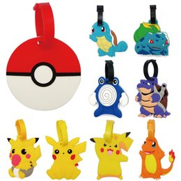 Wholesale plastic card label - New Go Pikachu Luggage ID Tags Labels Travel Boarding Adress ID Card Case Bag Collectibles Keychain Key Rings Toys Gifts ZJ-T05