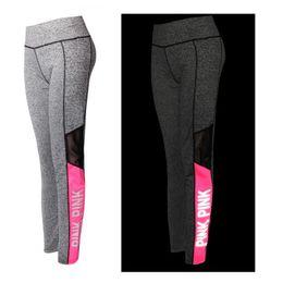 collants d'entraînement roses Promotion Yoga Legging Femmes Leggings Night Run Réfléchissant Rose Taille Haute Stretchy Yoga Séances D'entraînement Pantalon Serré Jogging Pant Taille Plus XS-XXXL