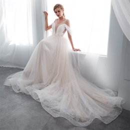Wholesale corset feather wedding dresses - 2018 Vintage lace Beach Wedding Dresses Backless lace up corset Scoop Long feather off shoulder sleeve Bridal Gowns Sexy Tulle Wedding Dress