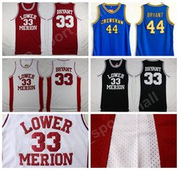 Lower Merion College 33 Kobe Bryant Jersey hombres rojo negro blanco azul  Hightower Crenshaw High School Bryant baloncesto Jerseys deporte al por  mayor 77e2099a2