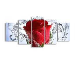 Wholesale Rose Wall Art - 5 pieces high-definition print Red rose Flowers canvas oil painting poster and wall art living room picture PF5-018