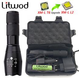Wholesale Portable Search - litwod Z20 portable light A100 LED Flashlight waterproof Torch search lantern 5 Modes Zoomable 4000LM XML-T6   L2 self defense