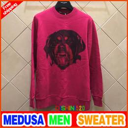 Wholesale Xs Dog Sweaters - 2018 Autumn and winter Pink Dog head men Sweater women loose hedging jacket wild Long sleeve casual sweatshirt sports Men Sweatshirt
