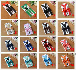 Wholesale White Suspenders For Babies - 26colors Kids Suspenders Bow Tie Set for 1-10T Baby Braces Elastic Y-back Boys Girls Suspenders accessories BY0112
