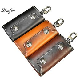 Wholesale Vegetable Tanning - Vintage vegetable tanned leather key holder Genuine leather key case with 6 hooks Unisex Nice gift fashion