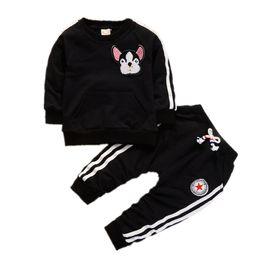Wholesale Dog Girls Pants - Spring Autumn Children Boys Girls Clothing Suits Fashion Baby Embroidery Cartoon Dog T-shirt Pants 2Pcs sets Toddler Tracksuit