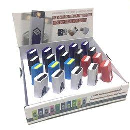 Melhor presente de isqueiro on-line-Melhor presente USB Recarregável Isqueiro Cigarros Eletrônicos Mais Leve À Prova de Vento Sem Chama Sem Combustível de Gás ABS Plástico Retardador de Chama