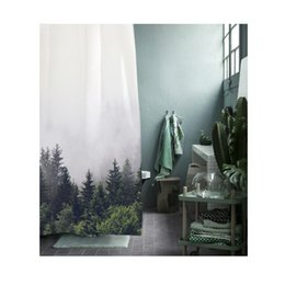 Wholesale mountain fabric - Mountain Early Forest Shower Curtain White Sky Bath Shower Waterproof and Fabric 100% Polyester with Hooks