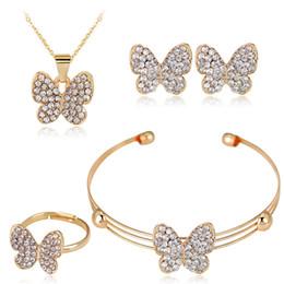 Ожерелье кольцо набор бабочка онлайн-2018 бросился ювелирные наборы африканских женщин комплект ювелирных изделий простой Моды сплава бабочка серьги ожерелье браслет и кольцо набор