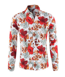 Canada Fleurs Imprimé 2018 Chemise De Mode De L'été Pour Hommes Élégant Coupe Slim Boutonné Manches Longues Hawaïen Camisa Masculina Homme Chemises cheap flowers hawaiian Offre