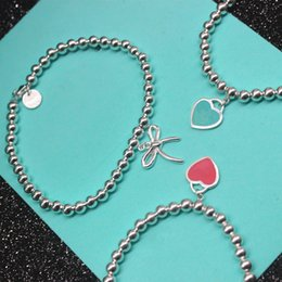 Wholesale Silver Plated Bracelets For Sale - Hot sale S925 Sterling Silver beads chain bracelet with enamel grenn and pink heart for women and mother's day gift jewelry free shipping PS