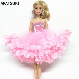 Wholesale Dolls Clothes Bjd - Pink Multi-layer Dress Fashion Off-shoulder Clothes For Barbie Doll One-piece Party Dresses For 1 6 BJD Dolls Accessories Toy
