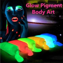 Luz de néon arte on-line-10 cores / lote Neon luz Brilho no escuro Pigmento Pintura Corporal, Dia das Bruxas / Festa Incandescente Tinta Fluorescente corpo arte UV Compõem o pigmento