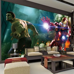 Wholesale Paper Iron Man - 3D TV large murals TV backdrop wallpaper the living room bedroom children's room Avengers Hulk Iron Man wall paper