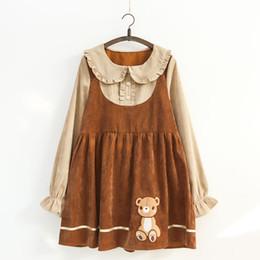 2019 orso di corduroy Giapponese Mori Girl Kawaii Dress Women Cute Fashion Ricamo Orso Ruffle velluto a coste abiti ragazze falso in due pezzi vestito sconti orso di corduroy