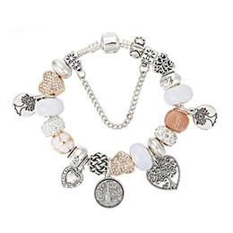 2019 braceletes de amor de árvore Hot Moda Charm Bracelet Beads Pulseiras Para As Mulheres Vida Árvore Pingente Bangle Charme Pandora Amor Talão como Presente Diy Jóias braceletes de amor de árvore barato