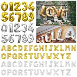 Palloncini in alluminio da 16 pollici Lettere alfabeto oro argento A-Z e numero arabo 0-9 Palloncino foil Decorazione festa di compleanno di Natale H0185 da danza figurine all'ingrosso fornitori