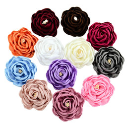 Wholesale Handmade 3d Shape - 12pcs Handmade Microfiber Florals suede 3D camellia Shape Fashion flowers Hair accessory Diy Hairpin decoration HD766
