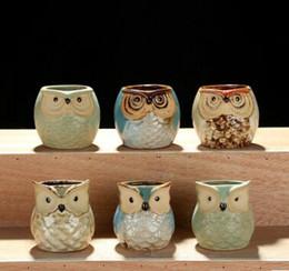Wholesale flower pot animals - Lovely Durable Garden Pot Breathable Animal Owl Ceramic Flowerpots Anti Wear Corrosion Resistant Mini Succulent Plants Pots
