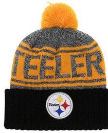 I più venduti Berretto Pittsburgh Berretti PIT Sideline Cold Weather Reverse Sport Cuffed Knit Hat con Pom Winer Skull Caps da cravatta rossa di arco nero della camicia fornitori