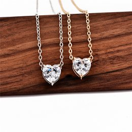 Wholesale silver diamond heart choker necklace - 925 Sterling Silver Simple Beads Diamond Gold Silver Color Chain Love Heart Zircon Choker Statement Necklace Jewelry For Women Mom