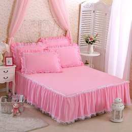 cobertor de coberta contornado Desconto 3 estilos 17 cores puro algodão rendas cor sólida princesa saia cama única peça / três conjuntos de folhas de cama capa de decoração para casa