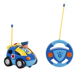 Wholesale R C Lights - OBCANOE R C Cartoon Police Race Car with Music and Lights Remote Control Mini Colorful Car with Police Figure (Dark Blue)