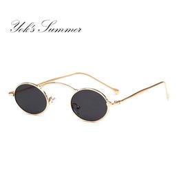 309ce02e438 Yok s Steampunk Oval Small Sunglasses Women 90s Vintage Gold Black Metal  Frame Tiny Sun Glasses Men Mini Round Gothic Oculos WN1078