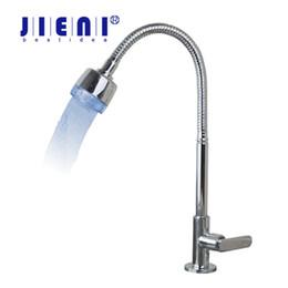 Wholesale Led Bathroom Sink Faucets - Bathroom Kitchen Faucet LED Kitchen Sink Faucet DecK Mounted torneira Swivel Spout Taps Singel Cold Water Mixer Tap