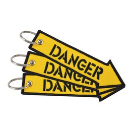 Wholesale Arrow Shapes - Danger Rescure Embroidery Key Ring Yellow Double Side Keys Buckle Arrow Shape Design Label Keychain Creative Car Charms 2 6wc Z