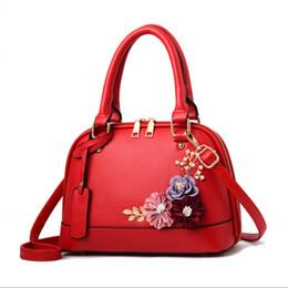 корейская сумочка красного цвета Скидка 2018 слинг небольшой площади сумки для женщин кожаные сумки корейский мода красный цветок плечо Messenger высокое качество женщина сумка