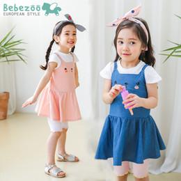 Wholesale t shirt dress korean style - Fashion New Girls Outfit Sets korean Baby Girl Summer Short Sleeve T-shirts Tops + Denim Cotton Catoon Bear Suspender dress 2pcs Set A9268