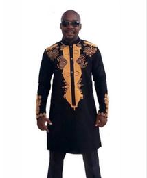 Поворот на поворот онлайн-Африканская одежда Африканский дашики традиционный Макси человек Африканский стенд воротник с длинными рукавами с длинными рукавами рубашки плюс размер