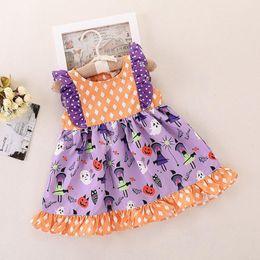 Laranja tutu vestido meninas verão on-line-INS crianças halloween dress bebê meninas orange dot tutu impressão vestidos de manga curta verão outono princesa party dress