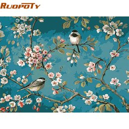 Wholesale paint number kit canvas - Wholesale-RUOPOTY Birds And Flower DIY Painting By Numbers Kits Drawing On Canvas Home Wall Art Decor Handpainted Painting For Artwork