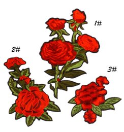 Wholesale Peony Crafts - Rose Flower Embroidered Patches for Clothing Iron on transfer Red Peony Applique Sticker for Clothes Stripes Embroidery Badge Craft Diy