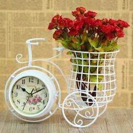 Vélo de style européen en Ligne-En gros-European pastoral style art de fer blanc bicyclette muet bureau horloge avec porte-plume double face horloge de table décoration de la maison