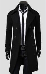 Estilo de casaco de lã dos homens on-line-Novo 2016 Mens Designer de Roupas Britânico Estilo Cashmere Trench Coat Outono Casaco De Lã Blusão Casaco Homens Casacos DFBTC001