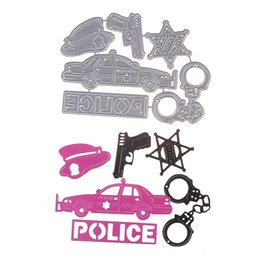 Wholesale police cards - New Embossing Steel Police Gun Handcuffs Cutting Dies Stencils DIY Scrapbooking Card Album Photo Painting Template Metal Craft